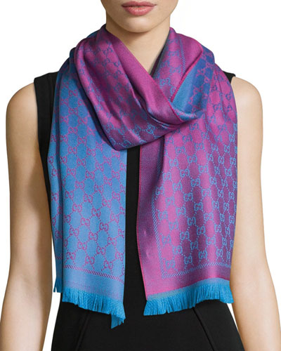 Reversible Wool Stencil Scarf, Pink/Blue