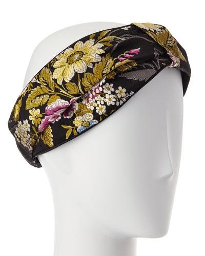 Floral Silk Vega-Knot Headband, Black/Pink