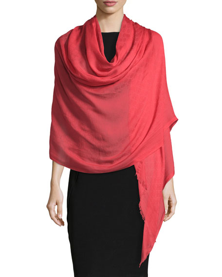 Gucci Amelux Fringed Stole, Red