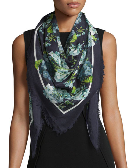 Gucci New Blooms Square Shawl, Blue
