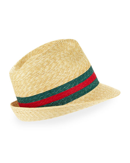 Abacá Straw Fedora Hat, Green/Red
