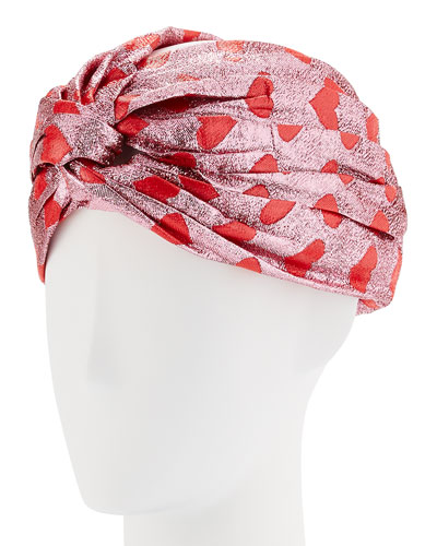Lucina Metallic Heart Headband, Pink/Red