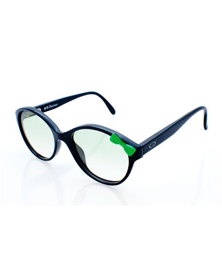 Christian Dior Girls' Cat-Eye Bowed Sunglasses, Black/Green