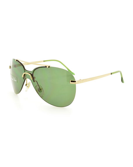 Christian Dior Baby Monochromatic Aviator Sunglasses, Gold/Green