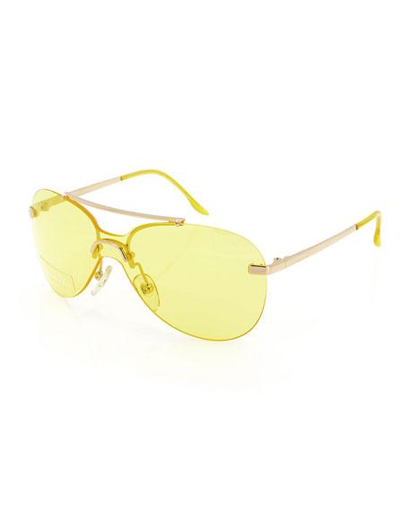 Christian Dior Baby Monochromatic Aviator Sunglasses, Gold/Yellow