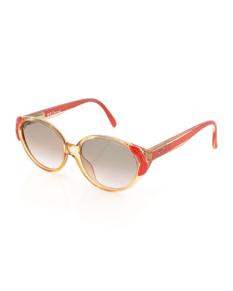 Christian Dior Girls' Bowed Cat-Eye Sunglasses, Clear/Pink