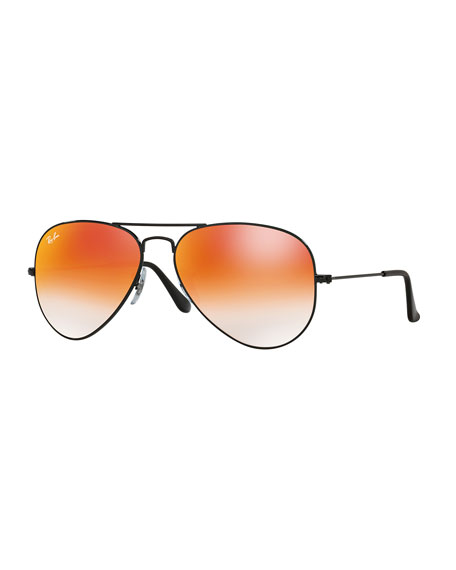 Ray-Ban Ombre-Mirrored Aviator Sunglasses, Black/Red