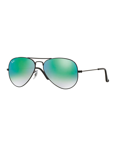 Ombre-Mirrored Aviator Sunglasses, Black/Green