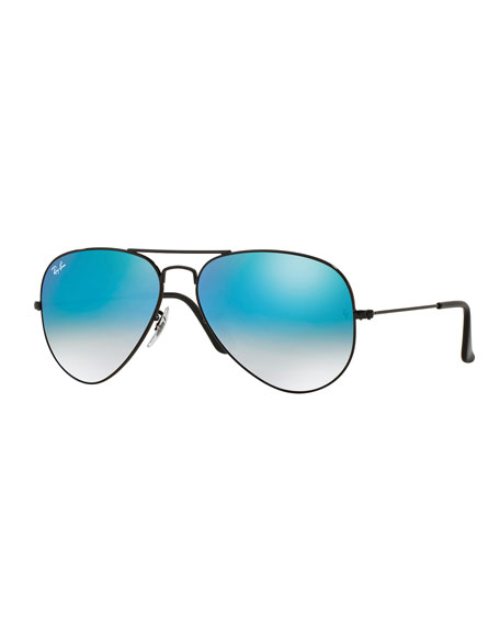 mirrored aviator sunglasses ray ban w45r  Ombre-Mirrored Aviator Sunglasses, Black/Blue