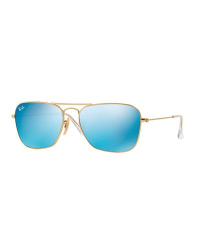 Square Ombre-Mirrored Aviator Sunglasses, Golden/Blue