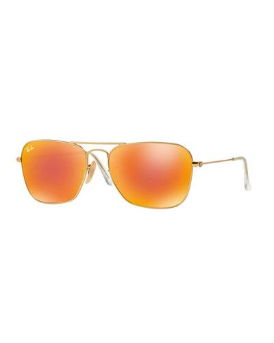 Square Ombre-Mirrored Aviator Sunglasses, Golden/Red