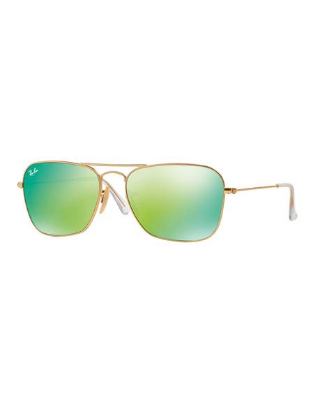 Square Ombre-Mirrored Aviator Sunglasses, Golden/Green
