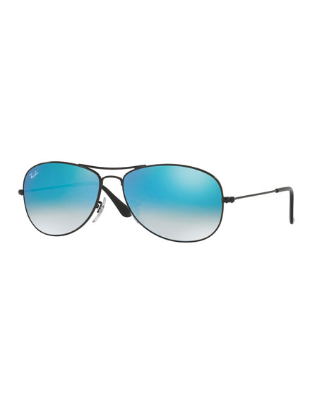 Ray-Ban Small Ombre-Mirrored Aviator Sunglasses, Black/Blue