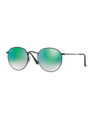 Round Ombre-Mirrored Metal Sunglasses, Black/Green