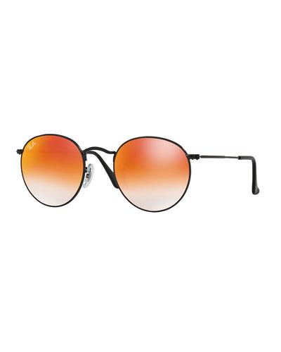Round Ombre-Mirrored Sunglasses, Black/Red