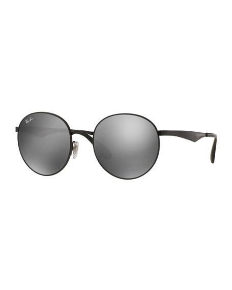 Ray-Ban Round Mirrored Sunglasses, Black/Gray