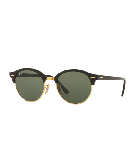 Ray-Ban Round Monochromatic Clubmaster® Sunglasses, Black/Green