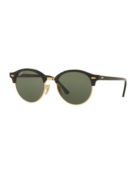 Ray-Ban Round Monochromatic Clubmaster® Sunglasses, Black/Green
