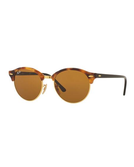 Round Monochromatic Clubmaster® Sunglasses, Havana/Brown