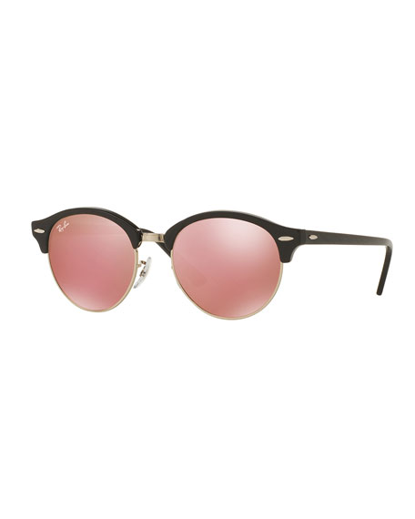 Rayban Clubmaster Sunglasses  ray ban round mirrored clubmaster sunglasses black pink