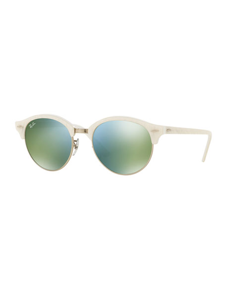 Ray-Ban Round Mirrored Clubmaster® Sunglasses, White/Green