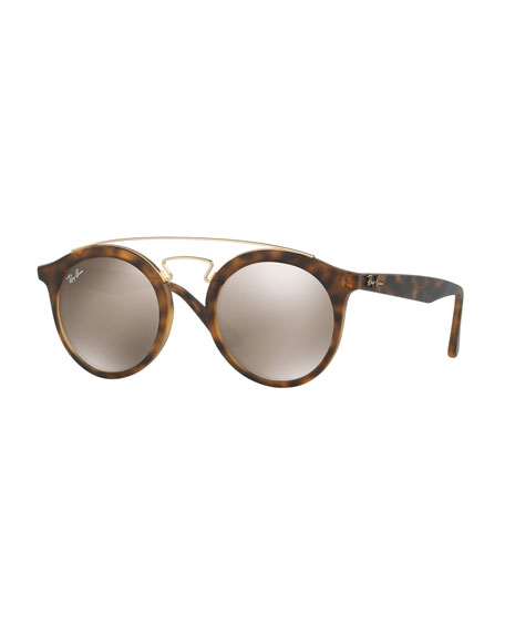 Ray-Ban Round Mirrored Brow-Bar Sunglasses, Brown/Gold