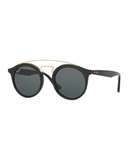 Ray-BanRound Monochromatic Brow-Bar Sunglasses, Black