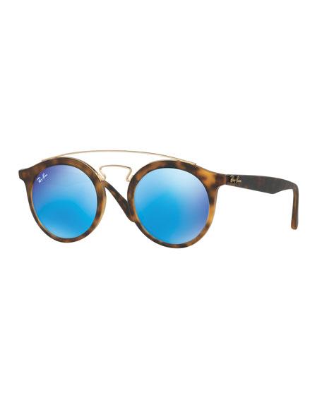 Ray-Ban Round Mirrored Brow-Bar Sunglasses, Havana/Blue