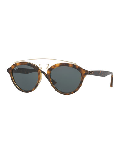 Monochromatic Brow-Bar Sunglasses, Havana/Dark Green