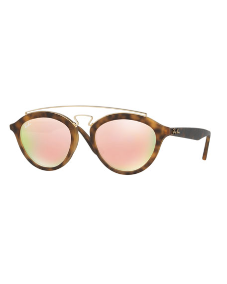Mirrored Brow-Bar Sunglasses, Brown/Pink