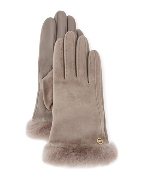 Classic Suede Smart Gloves, Gray