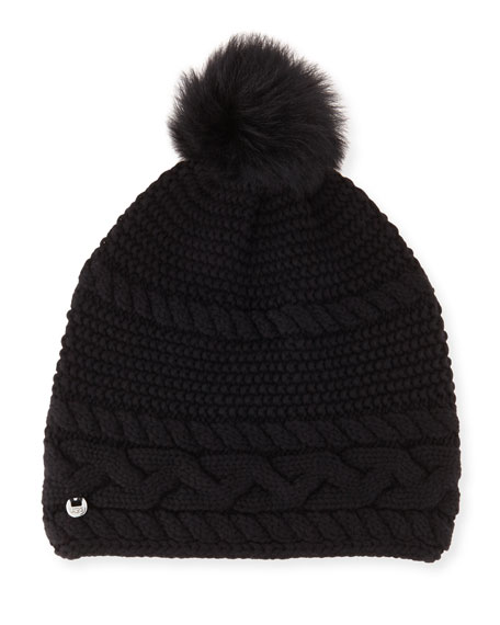 Cable-Knit Beanie w/ Pompom, Black