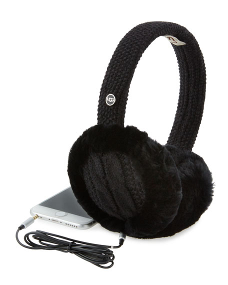 Wired Cable-Knit Crochet Earmuffs, Black