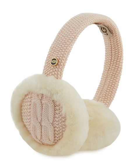 Wired Cable-Knit Crochet Earmuffs, Pearl