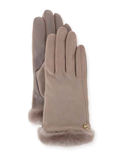 Carry Forward Classic Leather Smart Gloves, Gray