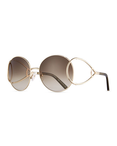 Jackson Oversized Round Metal Sunglasses, Havana/Gold