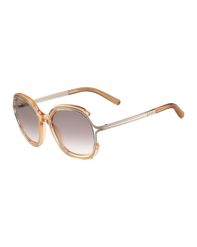 Jayme Gradient Rounded Square Sunglasses, Peach