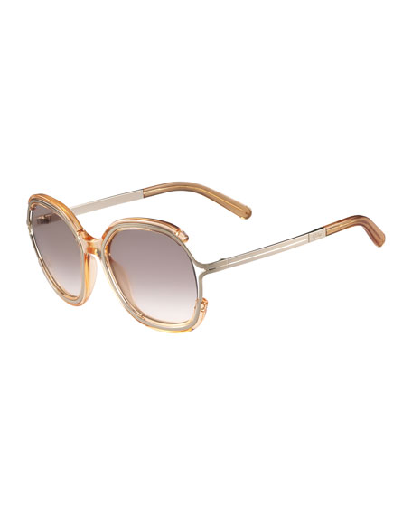 ChloeJayme Gradient Rounded Square Sunglasses, Peach