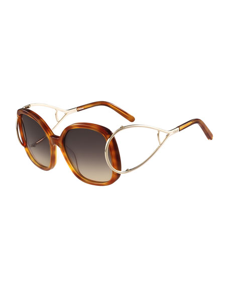Chloe Jackson Square Oversized Sunglasses, Havana