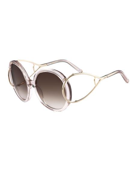 Chloe Jackson Round Oversized Sunglasses, Crystal