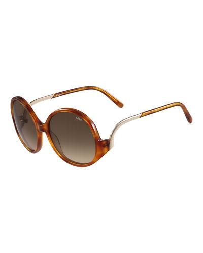 Emilia Round Oversized Sunglasses, Havana