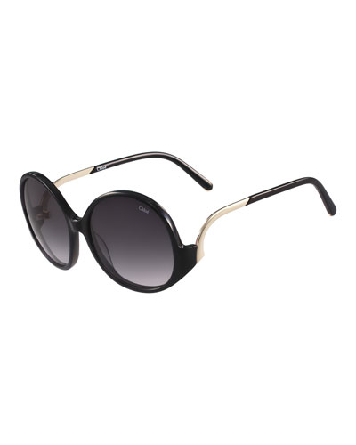 Emilia Round Oversized Sunglasses, Black