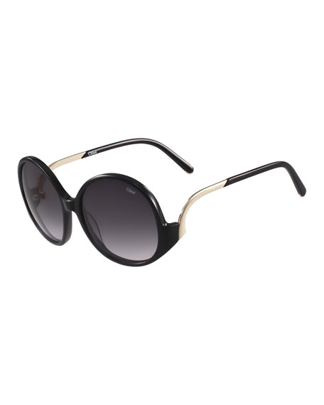ChloeEmilia Round Oversized Sunglasses, Black