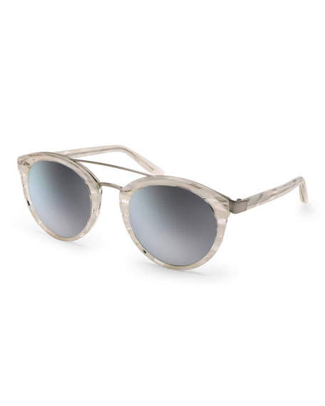 Barton Perreira Dalziel Rounded Cat-Eye Sunglasses, Horn