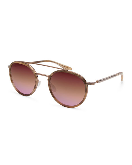 Barton Perreira Justice Mirrored Round Sunglasses, Rose Gold/Horn