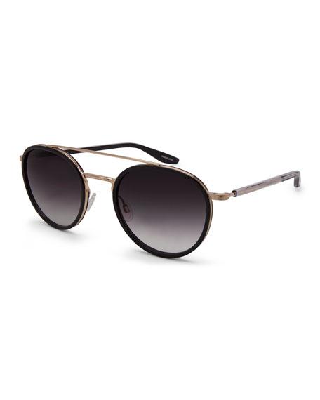 Barton Perreira Justice Gradient Round Sunglasses, Black/Gold