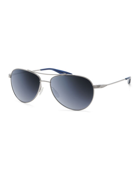 Lovitt 59 Aviator Sunglasses, Silver/Blue