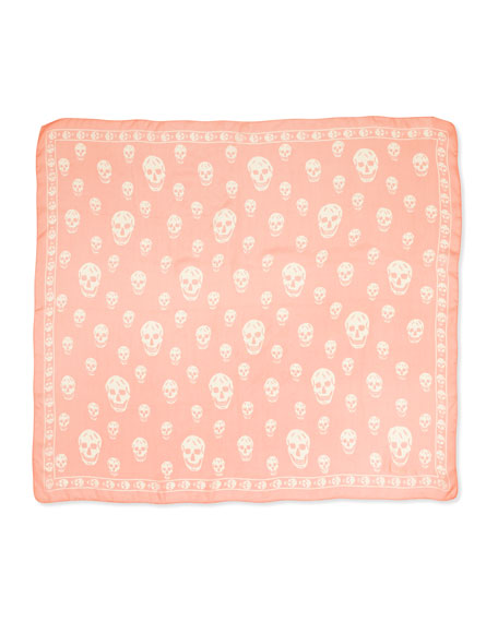 Silk Chiffon Skull-Print Scarf, Rose/Ivory
