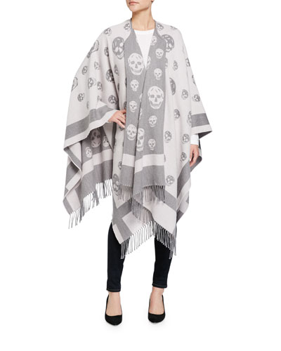 Reversible Wool & Cashmere Skull Jacquard Cape, Lead/Pink