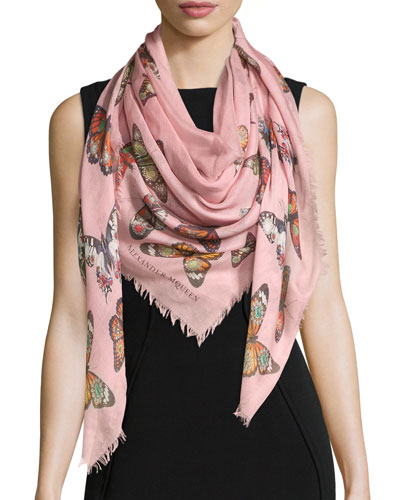 Bejeweled Butterfly Voile Scarf, Pink/Red